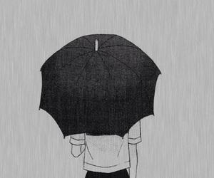 anime, rain, and umbrella image