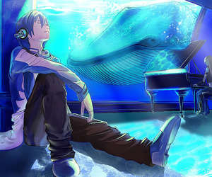 anime, blue, and whale image