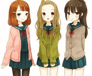 anime, girl, and friends image