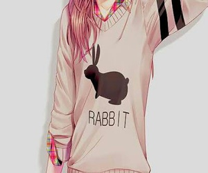 anime, rabbit, and anime girl image