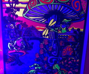 poster, shrooms, and trippy image