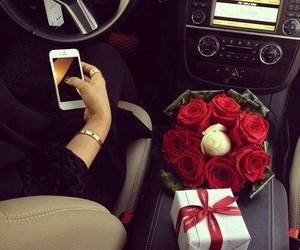 car, rose, and iphone image