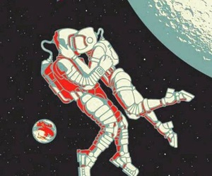 love, astronaut, and moon image
