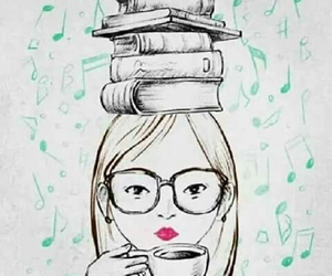 books, nerdy glasses, and tea image