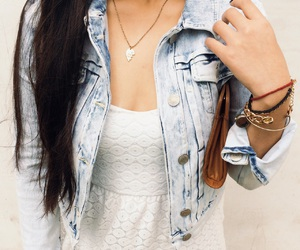 denim, necklace, and ootd image