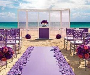 beach, purple, and wedding image