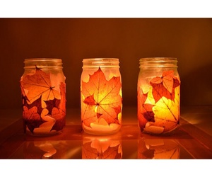 autumn, leaves, and candles image