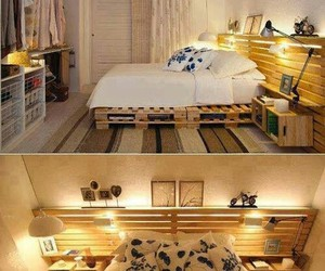 bed frame, bedroom, and decorations image