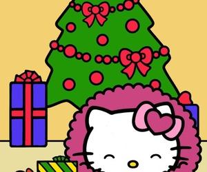 christmas, pink, and hello kitty image