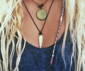 blonde, hair, and necklace image