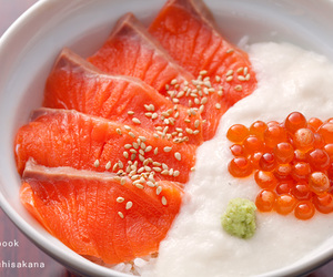 food, sashimi, and rice image