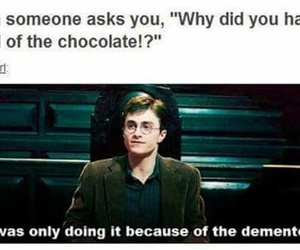 harry potter, chocolate, and dementors image