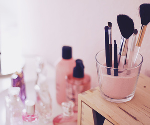 Brushes, make up, and pink image