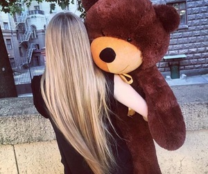girl, hair, and teddy image