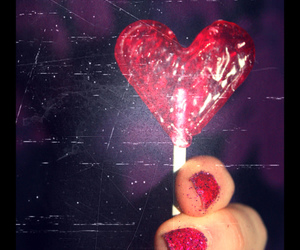 heart, lolipop, and glitter nails image