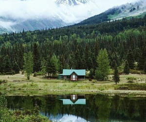 mountains, forest, and house image
