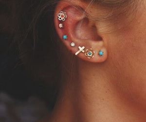 earring, turquoise, and flower image