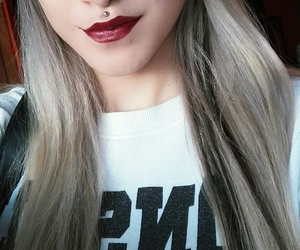 dark lips, eyebrows, and long hair image