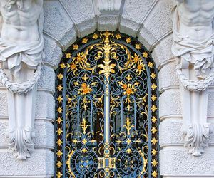 door, architecture, and gold image