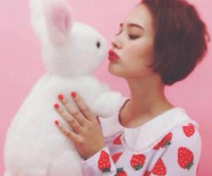 bunny, kawaii, and strawberry image