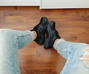 black, huarache, and trainers image