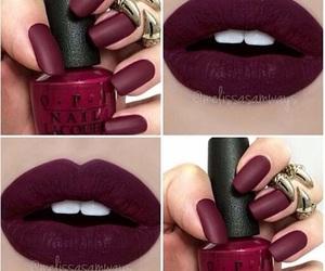 burgundy, nails, and makeup image