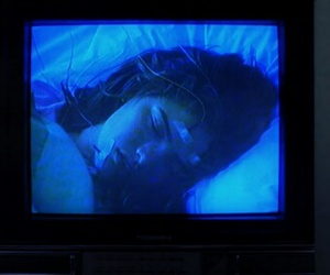 blue, glow, and tv image