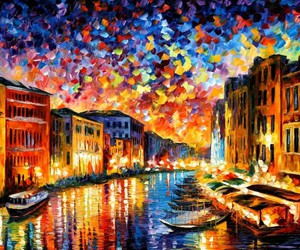 art, venice, and painting image