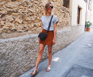 fashion, leather skirt, and outfit image