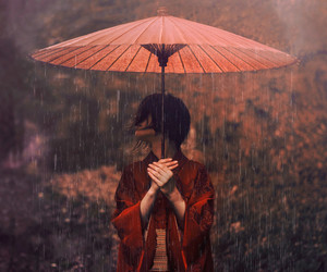 rain, japan, and red image