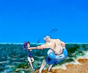 beach, couple, and one piece image