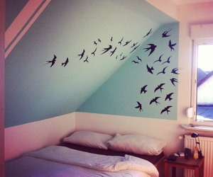 birds, blue, and room image