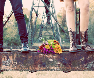 love, flowers, and boots image