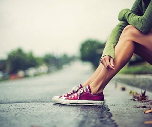 girl, converse, and rain image