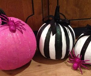 black and white, Halloween, and pink image