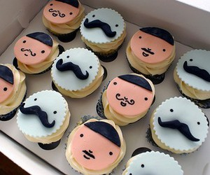 cupcake, mustache, and food image