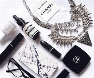 chanel, lipstick, and glasses image