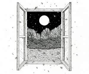 window, drawing, and moon image