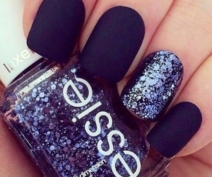 nails, essie, and black image