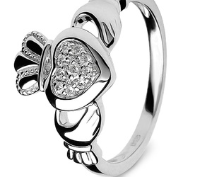 diamond, silver, and claddagh ring image