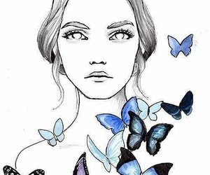 girl, butterfly, and drawing image