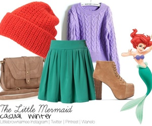 ariel, disney, and winter outfit image
