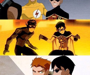 robin, young justice, and kidflash image