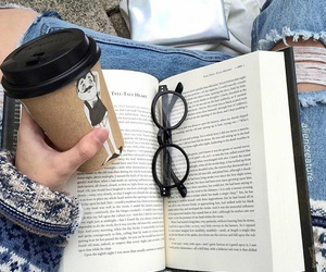 book, glasses, and coffee image
