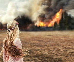 girl, fire, and flowers image