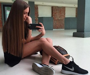 girl, iphone, and long hair image