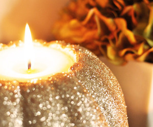 candle, autumn, and pumpkin image