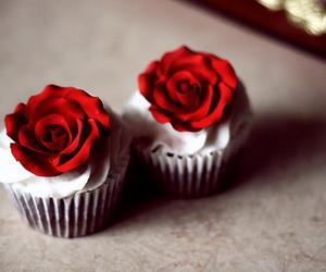 cupcake, rose, and red image