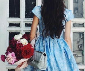 pink flowers, red flowers, and blue dress image