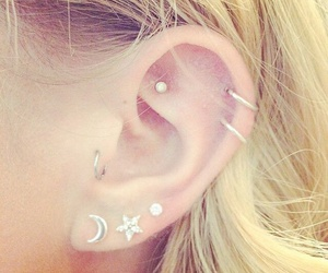 earrings, piercing, and style image